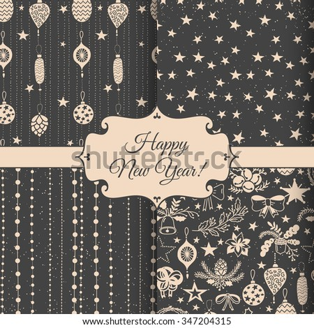 Set of 4 vector seamless Christmas patterns. Christmas decorations. - stock vector