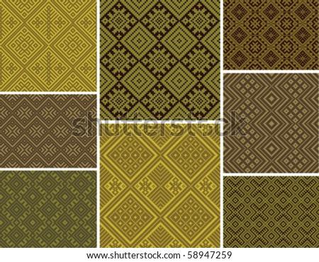 Set of vector seamless folk patterns - stock vector