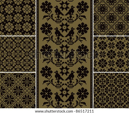 Set of vector seamless folk patterns with birds and flowers - stock vector