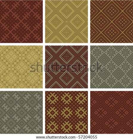 Set of vector seamless geometric patterns - stock vector