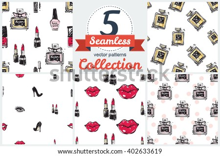 Set of 5 vector seamless pattern. Hand drawn graphic lips, eye, heels, perfume, mascara, lipstick, nail polish. Contrasty glamour fashion inky sketch in vogue style. Isolated elements white background - stock vector
