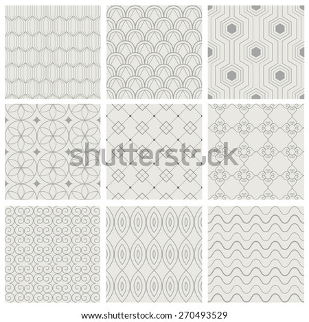 Set of vector seamless pattern. Simple geometric backgrounds. Modern texture.