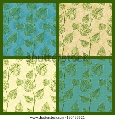 Set of vector seamless pattern with leaves, eps10  - stock vector