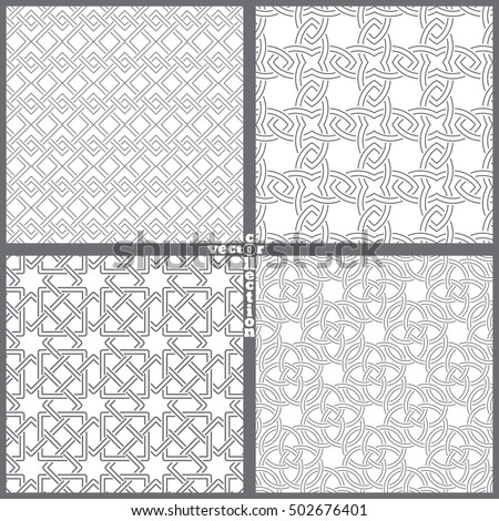 Set of vector seamless patterns. Modern geometrical textures with crossed geometric shapes. Intersecting stars, rhombuses, diamonds, circles. Regularly repeating luxury wallpapers, backgrounds.