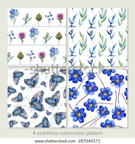Set of vector seamless patterns. Watercolor iris, leaves, butterfly. Blue and lilac hues. Can be used for gift wrapping paper and other background. - stock vector