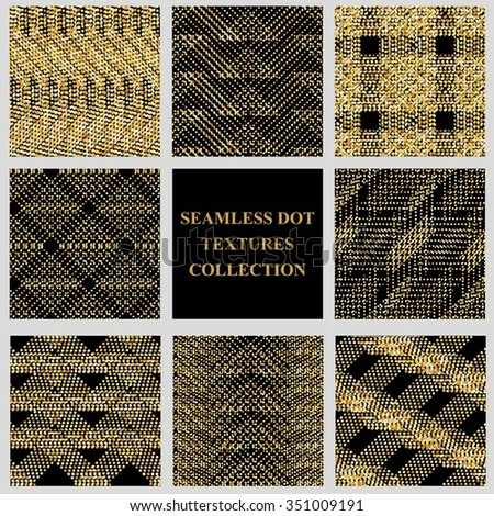 Set of vector seamless patterns with checkered dot texture. Stylish black and golden glitter modern design.