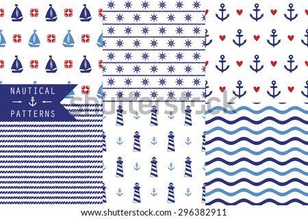 Set of vector seamless patterns with sea elements: lighthouses, ships, anchors, wind rose. Can be used for wallpapers, web page backgrounds. Six simple patterns - stock vector