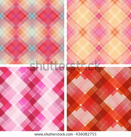Set of vector seamless plaid fabric patterns in red and pink tones. Graphical geometric endless background. Beautiful design ideal for textile, wrapping paper, wallpaper. - stock vector