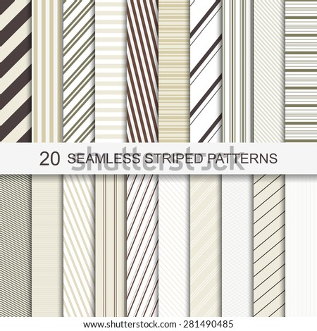 Set of vector seamless striped patterns. - stock vector