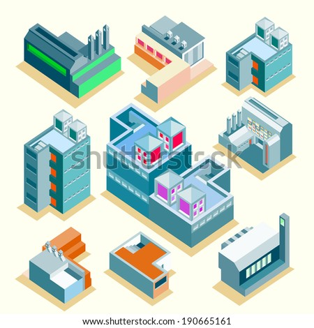 Set of vector several isometric buildings with isolated background. apartment, factory, office. make custom map or info graphic - stock vector