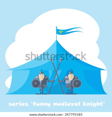 Set of vector shapes funny medieval knight with a spear and shield in the hands backdrop on tent isolated on white background - stock vector