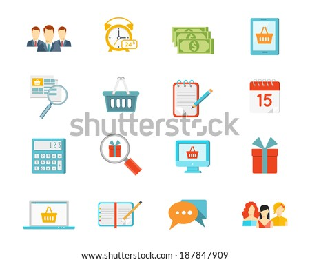 Set of vector shopping icons depicting commerce with baskets  gifts  list  computer screen  calendar  money  dollar  bills  clock  customers  salespeople  calculator and laptop