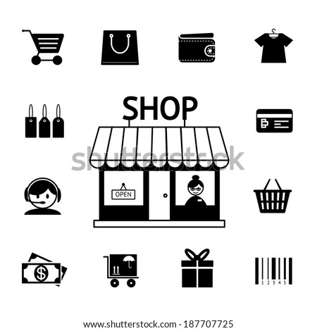 Set of vector shopping icons in black and white with a cart  trolley  wallet  bank card  shop  store  money  gift  delivery and bar code depicting consumerism and retail purchasing - stock vector