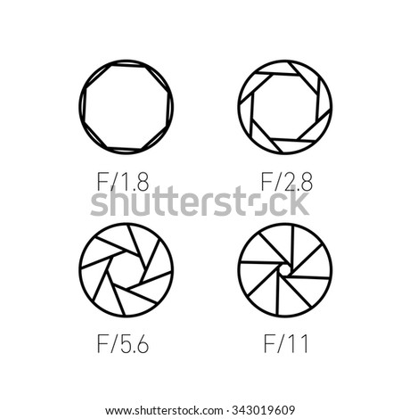 set of vector shutter or aperture in photography and camera linear icon and infographic | illustrations of gear and equipment for professional photographers and amateurs black on white background - stock vector