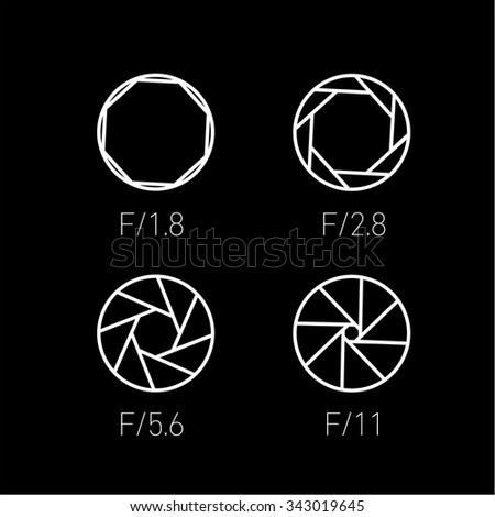 set of vector shutter or aperture in photography and camera linear icon and infographic | illustrations of gear and equipment for professional photographers and amateurs white  on black background - stock vector