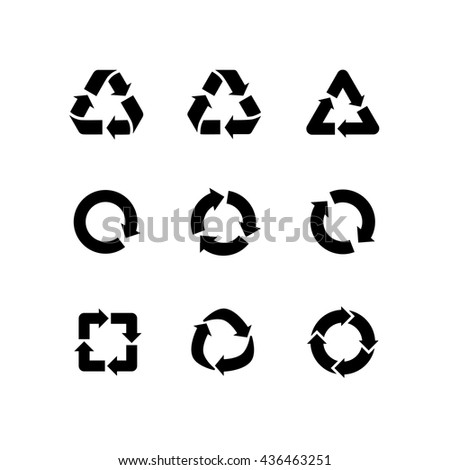 Set of vector signs of recycling, arrow icons isolated on white. Recycle icons, reuse logo, reduce symbol. Ecological symbols of recycle, environment icons collection. Recycle sign - stock vector