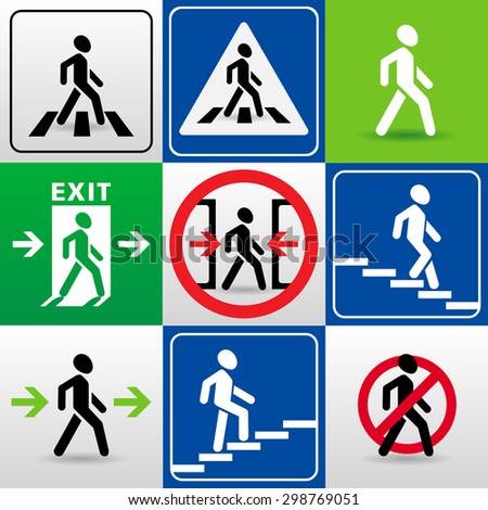 set of vector signs with walking man silhouettes. 'crosswalk', 'exit', 'caution!the doors close automatically', 'passage allowed', 'passage prohibited', 'descent down the stairs', 'climbing stairs up' - stock vector