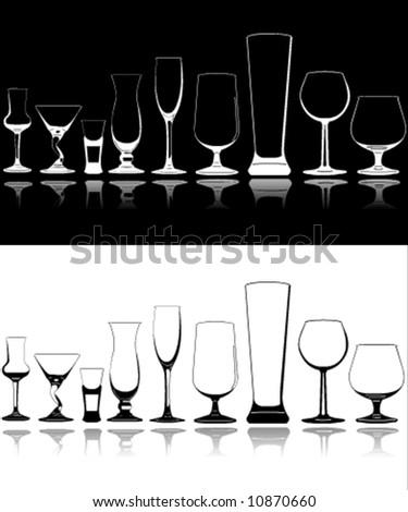 Set of vector silhouette glasses - stock vector