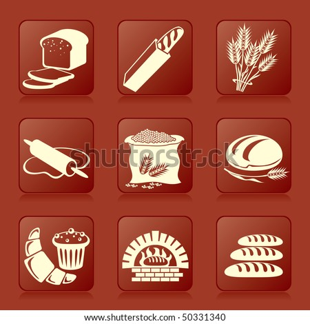 Set Of Vector Silhouette Icons Of Bread And Pastry Stock