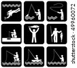 set of vector silhouette icons of fishing - stock vector