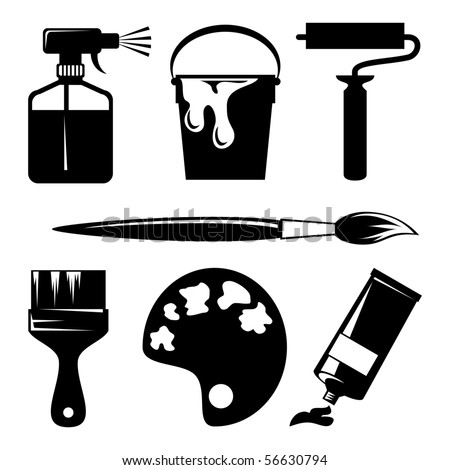 set of vector silhouette icons of paint and painting tools - stock vector