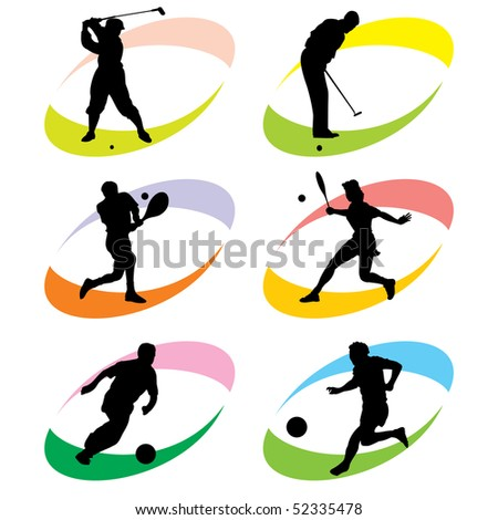 set of vector silhouette icons of sports games with the ball - stock vector