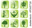 set of vector silhouette icons of trees and plants - stock vector