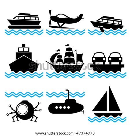 set of vector silhouette icons on marine vessels and transport - stock vector
