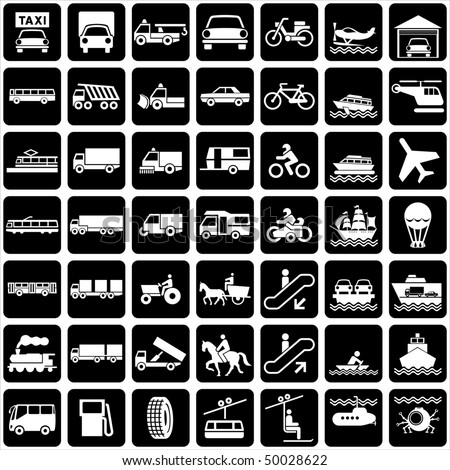 set of vector silhouette of icons with various symbols transports. - stock vector