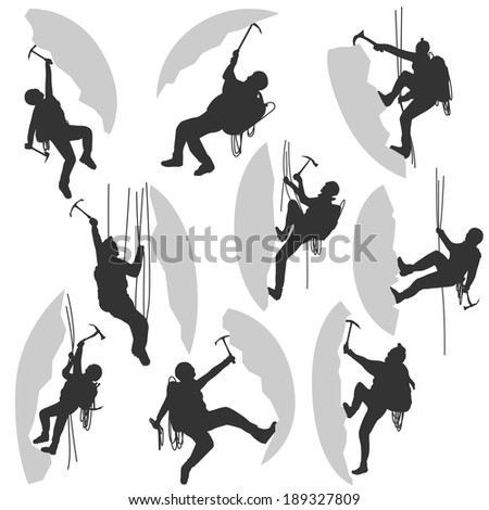 Set of vector silhouettes alpinists (climbers) with ice ax in different poses.