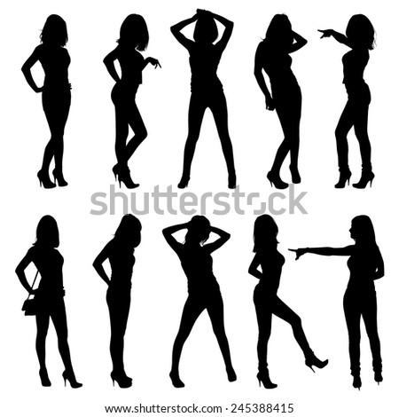 Set of vector silhouettes. Beautiful, slim, young girls in different poses.