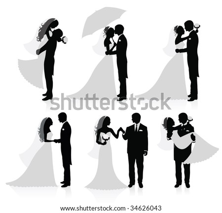 Set of vector silhouettes of a broom and a bride. - stock vector