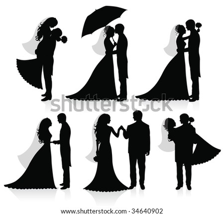Set of vector silhouettes of a groom and a bride. - stock vector