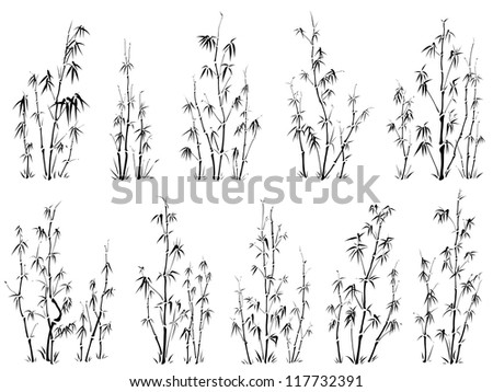 Set of vector silhouettes of bamboo pattern in asian style, writing ink.