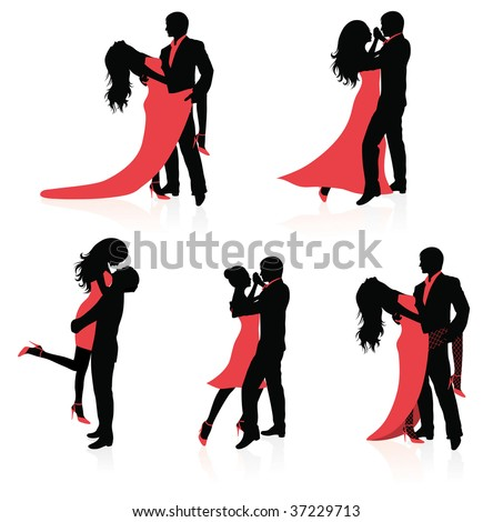 Set of vector silhouettes of dancing couples. - stock vector
