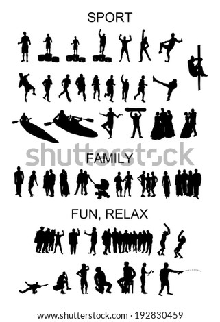 set of vector silhouettes of people in situation - stock vector