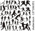 Set of vector silhouettes of people in sports - stock vector