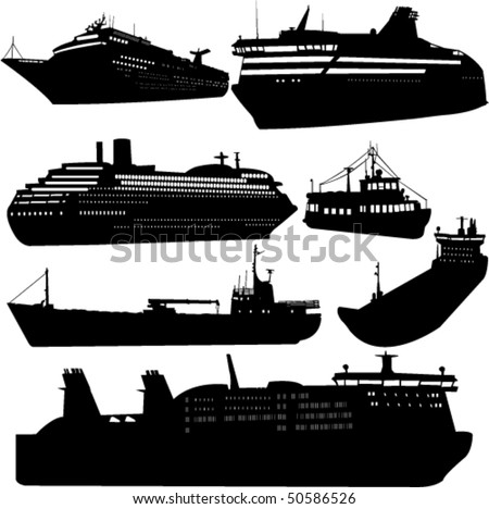 Set of vector silhouettes of ships and cruise ship - stock vector