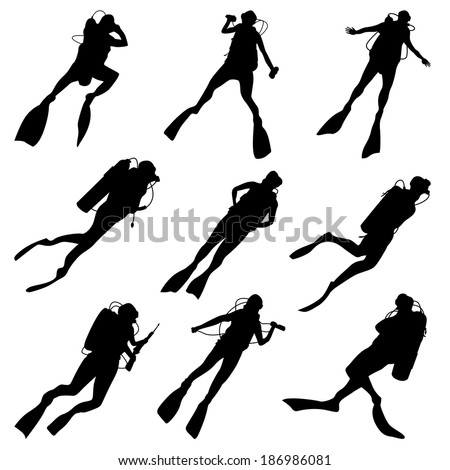 Set of vector silhouettes scuba diving in different poses. - stock vector