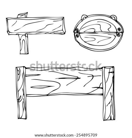 Set of Vector Single Sketch Signpost - stock vector
