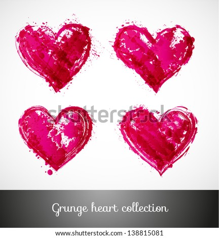Set of vector sketch hearts - stock vector