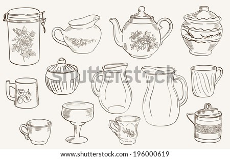 set of vector sketches arranged on a gray background on cookware - stock vector