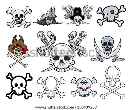 Set of Vector Skulls Illustrations - stock vector