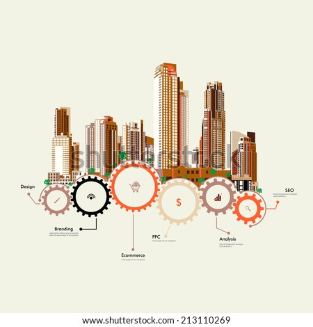 Set of vector skyscrapers with diverse architecture facades. Architecture skyscrapers of a big city. Houses and office buildings in a big city. Skyscrapers stand on the gears. Infographics. - stock vector