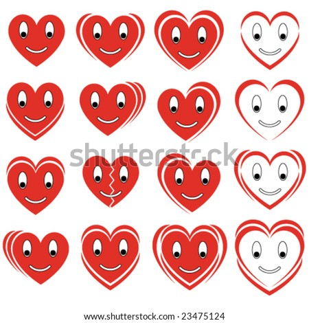 set of vector smile hearts - stock vector