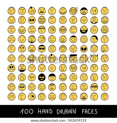 Set of vector smiley faces. Funny characters.  - stock vector