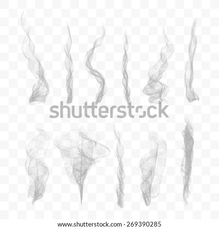 Set of 10 vector smoke isolated on transparent background - stock vector