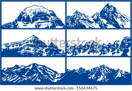 Set of Vector snow mountains background isolated on white  - stock vector