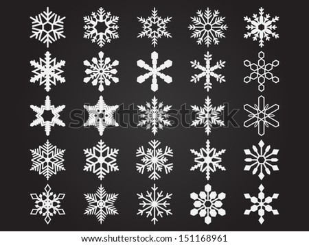 Set of vector snowflakes. File is in eps10 format. - stock vector