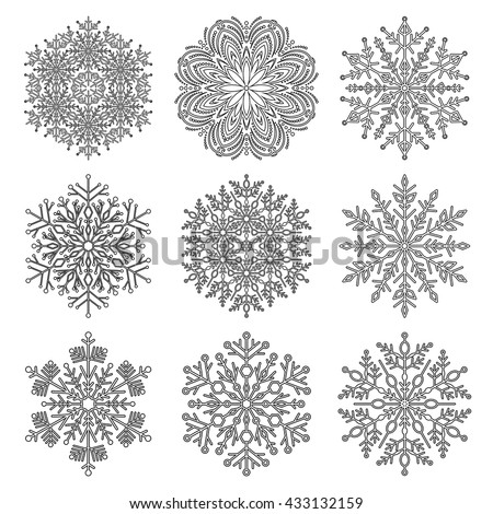 Set of vector snowflakes. Fine winter ornament. Snowflake collection. Black and white colors - stock vector